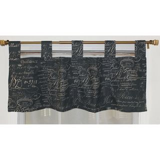 French Script Mariner Blue Tab Valance