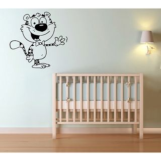 Cartoon Tiger Vinyl Wall Decal (Glossy blackEasy to applyDimensions: 25 inches wide x 35 inches long )