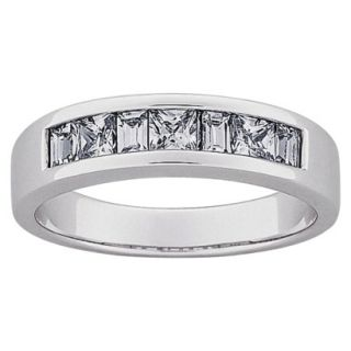 Sterling Silver Square and Baguette CZ Wedding Band