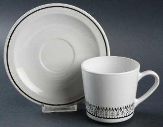 Corning Graffia (Centura) Flat Cup & Saucer Set, Fine China Dinnerware   Centura