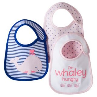 Just One YouMade by Carters Newborn Girls 3 Pack Whale Bib Set   Pink/Blue