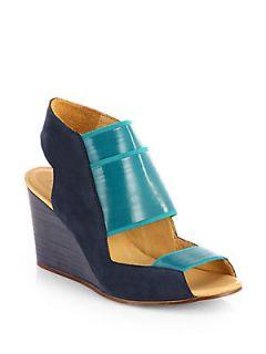 MM6 Maison Martin Margiela Suede Wedge Sandals   Blue Green