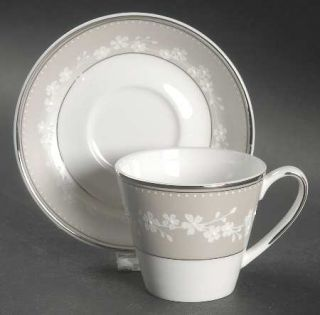 Lenox China Bellina Platinum Trim Flat Demitasse Cup & Saucer Set, Fine China Di