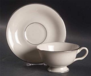 Shenango Wedding Band Footed Cup & Saucer Set, Fine China Dinnerware   Platinum