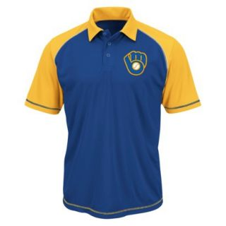 MLB Mens Milwaukee Brewers Synthetic Polo T Shirt   Blue/Yellow (L)
