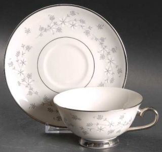 Royal Jackson Symphony Footed Cup & Saucer Set, Fine China Dinnerware   White Fl