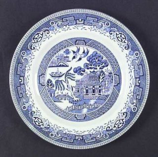 Washington Pottery Old Willow Blue Dinner Plate, Fine China Dinnerware   Blue Ge