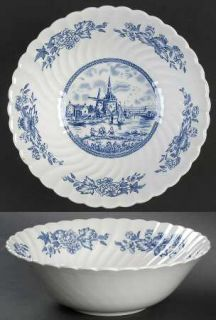 Johnson Brothers Tulip Time Blue (White Background) 8 Round Vegetable Bowl, Fin