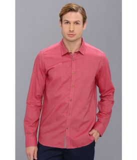 Ted Baker L/S Flannel Plain Shirt Mens Long Sleeve Button Up (Red)