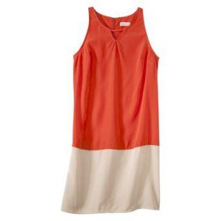 Merona Womens Colorblock Hem Shift Dress   Hot Orange/Hamptons Beige   L