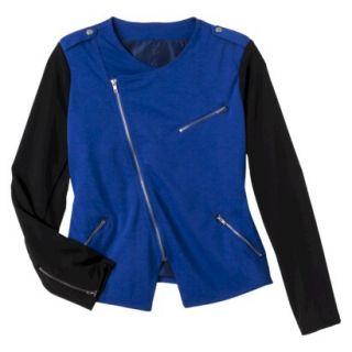 Merona Womens Plus Size Long Sleeve Moto Jacket   Blue/Black 3