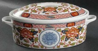 Georges Briard Peony 2 Quart Oval Covered Casserole, Fine China Dinnerware   Rus