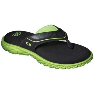 Boys C9 by Champion Pat Flip Flop Sandals   Black/Green XL