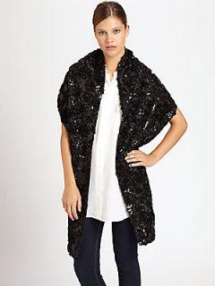 Ilana Wolf Ribbon & Sequin Wrap   Black