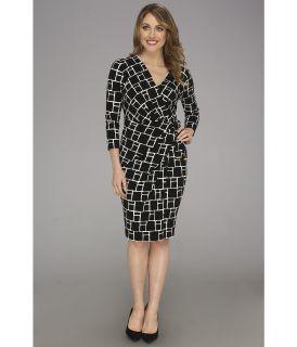 Anne Klein Three Quarter Sleeve Jersey Sarong Dress II Womens Dress (Black)