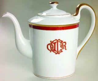 Christian Dior Dior Monogram Red Coffee Pot & Lid, Fine China Dinnerware   Red B