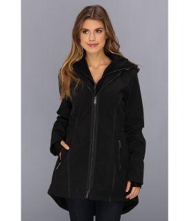 DKNY Hooded Softshell Coat w/ Interior Bib Womens Coat (Black)