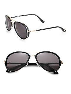 Tom Ford Eyewear Metal & Acetate Aviator Sunglasses   Black