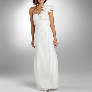 LILIANA Ruffle One Shoulder Ruched Wedding Dress, Ivory