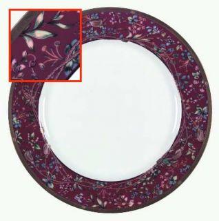 Christian Dior Tapisserie Dinner Plate, Fine China Dinnerware   Maroon Rim, Flow