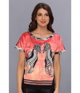 Hale Bob Wildlife Moments S/S Mix Media Top Womens T Shirt (Coral)