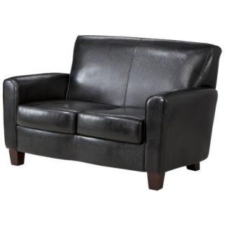 Loveseat: Threshold Nolan Bonded Leather Living Room Loveseat   Black