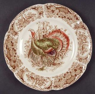 Johnson Brothers Wild Turkeys Brown (Native American) Salad Plate, Fine China Di