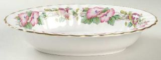Spode Wild Mallow 9 Oval Vegetable Bowl, Fine China Dinnerware   Pink & Purple