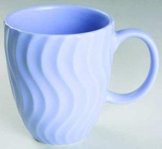 Dansk Tsunami Blue Mug, Fine China Dinnerware   All Blue, Embossed Wavy Lines