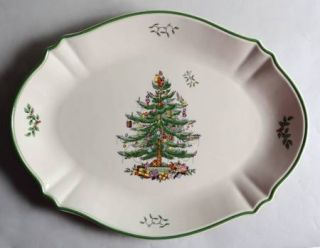 Spode Christmas Tree Green Trim 17 Oval Serving Platter, Fine China Dinnerware