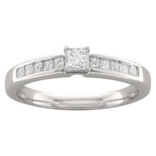 1/2 CT. T.W. Princess Cut Diamond Prong Set Ring in 14K White Gold (H I, I2 I3)