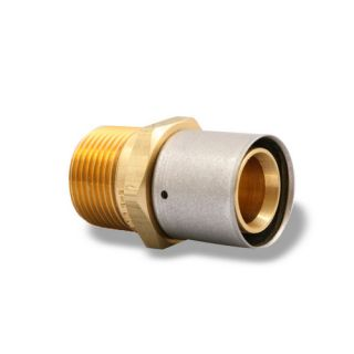 Uponor Wirsbo D4521010 MLC Press Fitting Brass Male Threaded Adapter Radiant Heating, 1 MLC Tubing x 1 NPT
