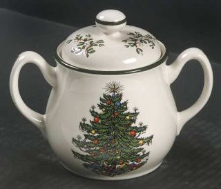 Cuthbertson Christmas Tree (Narrow Green Band,Cream) Sugar Bowl & Lid, Fine Chin