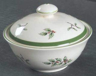 Spode Christmas Tree Green Trim Small Bon Bon, Round with Lid, Fine China Dinner
