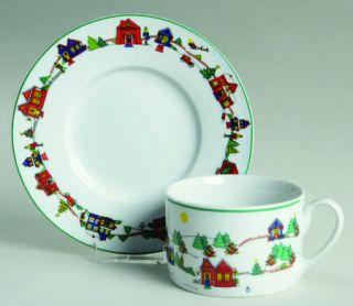 Cooks Club Falls Church Flat Cup & Saucer Set, Fine China Dinnerware   Multicolo