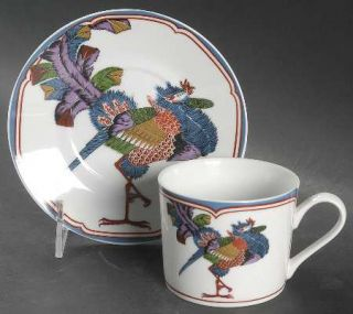Georges Briard Oriental Peacock Flat Cup & Saucer Set, Fine China Dinnerware   M