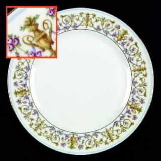 Heinrich   H&C Rococco Dinner Plate, Fine China Dinnerware   Gold Urns,Blue Swag