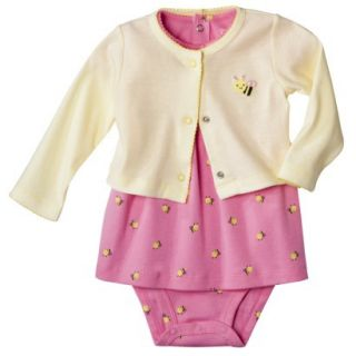 Just One YouMade by Carters Newborn Girls 3 Piece Dress Set   Pink Bee 9 M
