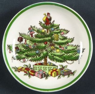 Spode Christmas Tree (Green Trim) Butter Pat, Fine China Dinnerware   Older Back