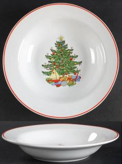 Cuthbertson Christmas Tree White Rim Soup Bowl, Fine China Dinnerware   Narrow R