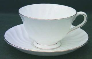 Tuscan   Royal Tuscan Dover (Gold Trim) Footed Cup & Saucer Set, Fine China Dinn