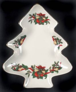 AMC Christmas Bounty Small Tree Shaped Dish, Fine China Dinnerware   Red Ribbons