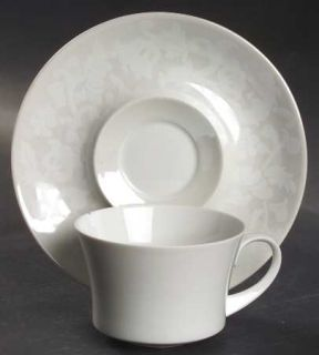 Block China Madrid Flat Cup & Saucer Set, Fine China Dinnerware   White Floral O