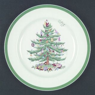 Spode Christmas Tree (Green Trim) Dinner Plate, Fine China Dinnerware   Older Ba