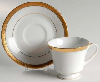 Noritake QueenS Gold Footed Cup & Saucer Set, Fine China Dinnerware   Contempor