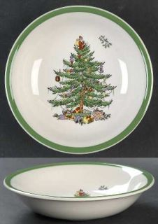 Spode Christmas Tree Green Trim Coupe Cereal Bowl, Fine China Dinnerware   Newer