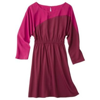 Mossimo Womens Long Sleeve Colorblock Dress   Red/Matador/Matador XS