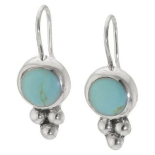 Sterling Silver Round Drop Earrings   Turquoise