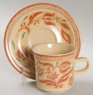 Georges Briard American Folk Art Flat Cup & Saucer Set, Fine China Dinnerware