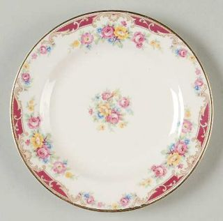 Edwin Knowles Lido Bread & Butter Plate, Fine China Dinnerware   Yellow/Pink Spr